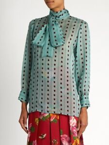 1900-Gucci-Ladies-Red-Ladybird-Jade-Green-Silk-Chiffon-Shirt-Blouse-Size-IT40-S