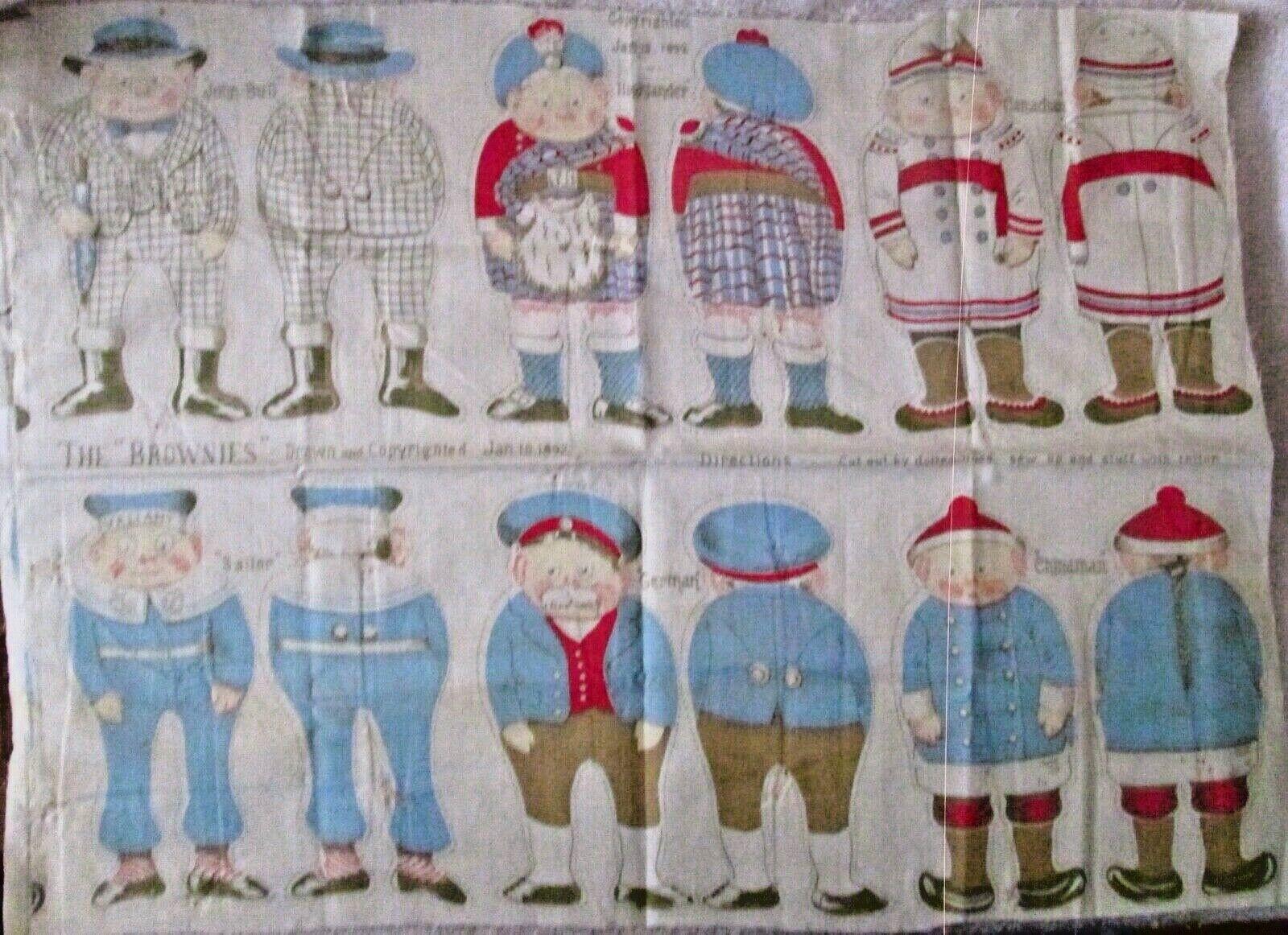 Palmer Cox braunies Premium cloth dolls sheet near mint uncut copyright 1892