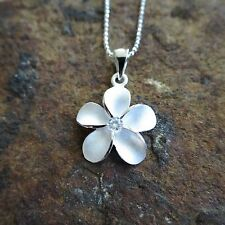 18mm Plumeria Flower Hawaiian Genuine Sterling Silver Pendant Necklace #SP43801