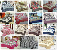 3 Piece Quilted Patchwork 100% Cotton Bedspread Set Bed Throw + 2 Pillow Shams