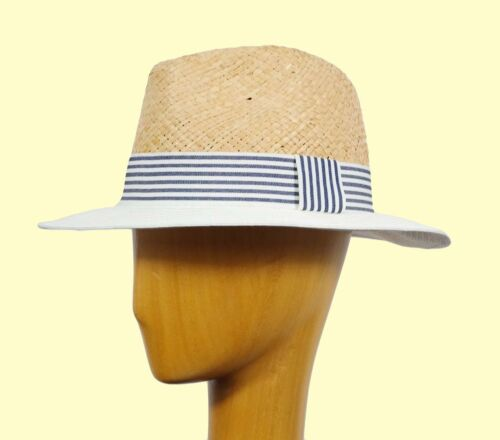 Wide Brim Panama Style Hat Beach Travel Festival Hat Straw Lightweight 89g