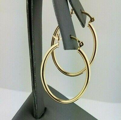 """14K Yellow Gold 2 mm Plain Hoop Earrings Large 2.7/"""" Snap Closure Hoops 4.7 g"""