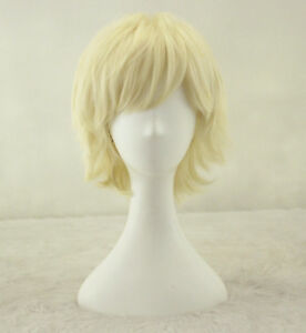 Power Girl Cosplay Wig Short Straight Blonde Beige Synthetic Wigs +a wig cap