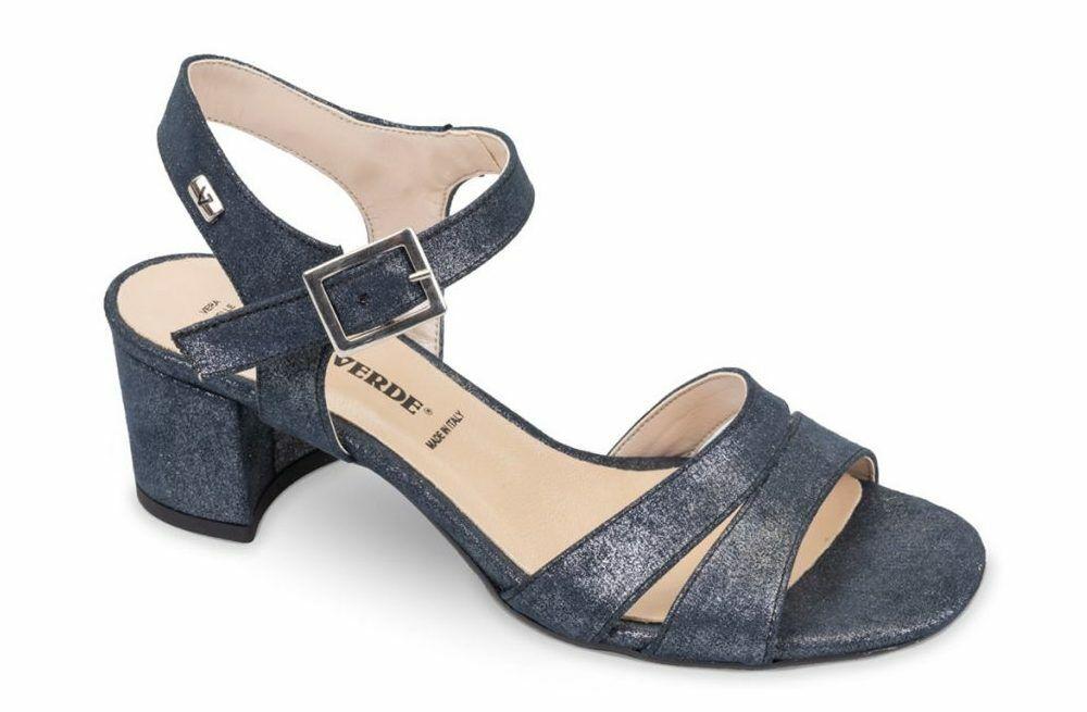 Sandaler häl 5,5 cm Vallegrön 28213 blå mocka Made in