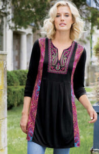 Soft Surroundings Style 28216 Black and Multicolored Kashmir Tunic Women's S
