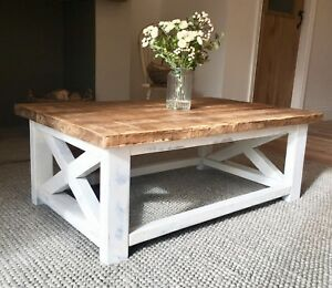 New Handmade Wooden Coffee Table Distressed White Made To Order Ebay