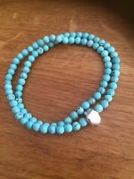 Handmade Turquoise Bracelet Sterling Silver Designer Stretch Wrap Beaded Jewelry