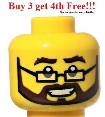 ☀️NEW Lego Minifigure Head Sideburns and Open Mouth Smile with Teeth and Tongue