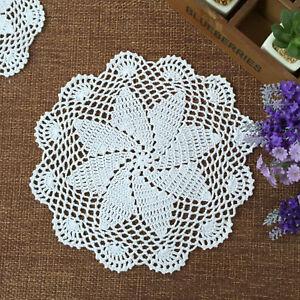 4Pc-Set-White-Vintage-Hand-Crocheted-Lace-Doilies-Round-Cotton-Table-Mat-26-28cm