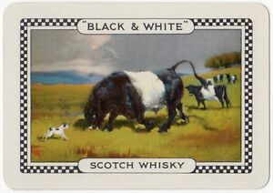 Playing-Cards-Single-Card-Old-Wide-BLACK-WHITE-Whisky-Advertising-Art-BULLS-DOG