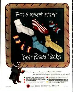 1947-Bear-Brand-Socks-Fashion-Cute-Colors-Teacher-Bear-Vintage-Print-Ad-437