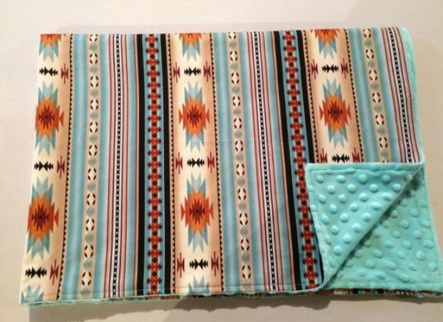 Adulto Minky-Pálido verde Azulado Impresión Navajo