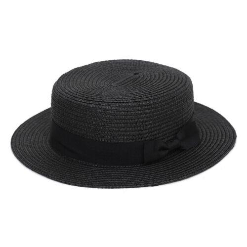 Summer Womens Beach Bowler Straw Boater Sun Hat Round Flat Caps Wide Brim UK
