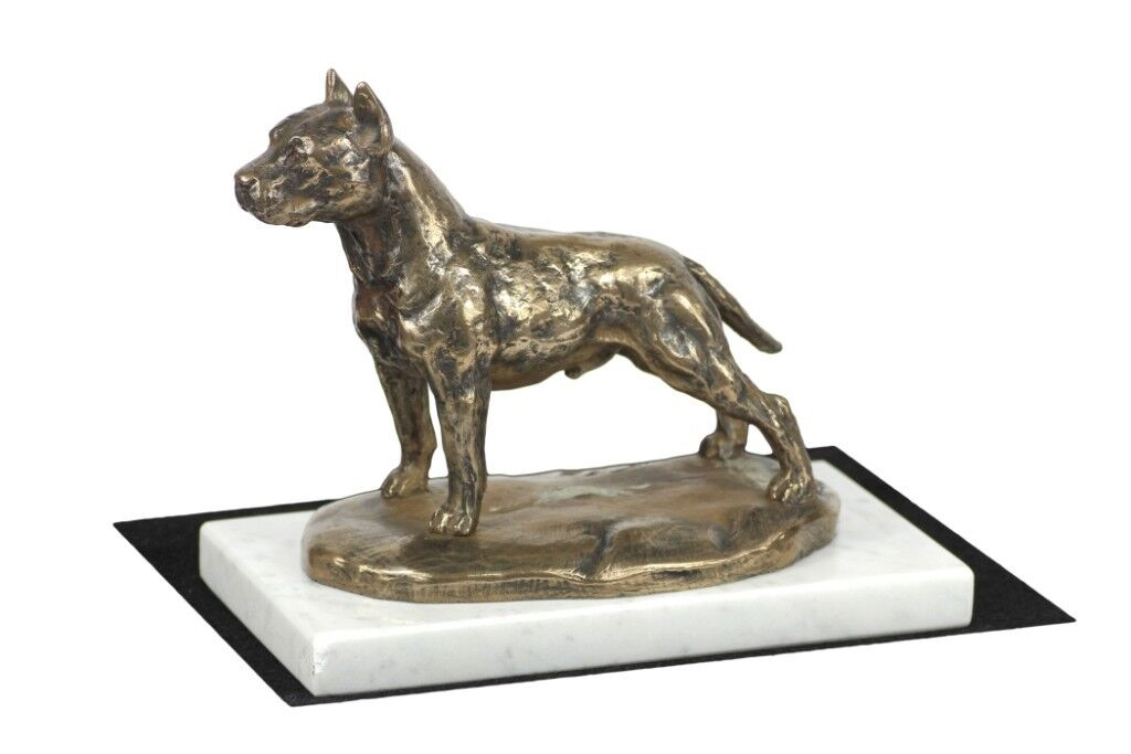 Amstaff type 2 - figurine made of Cold Cast Bronze on the Weiß marble, Art Dog