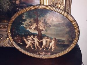 Antique-Victorian-Cherub-Lithograph-Gold-Gilt-Wooden-Gesso-Oval-Picture-Frame