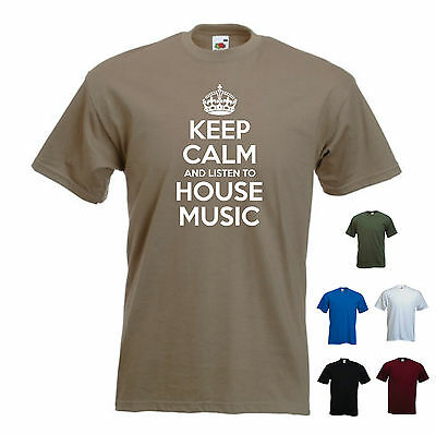 'Keep Calm and Listen to House Music' Club Trance DJ Acid Rave T-shirt Tee