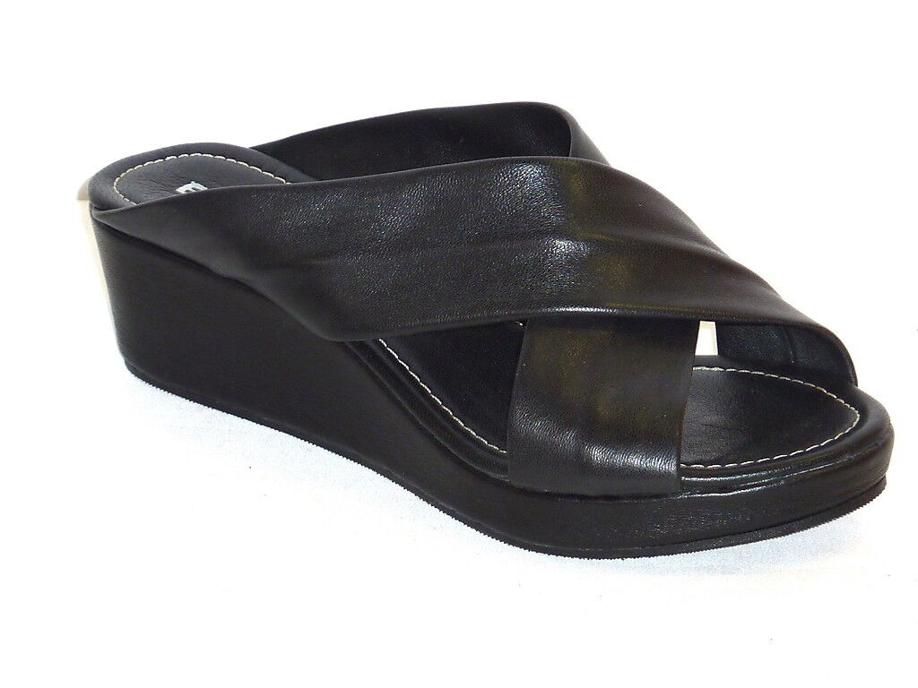 767 CIABATTE women shoes COMODE CON ZEPPA ARRIVI ESTATE IN PELLE black 35
