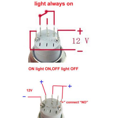 16 mm vert 12 V Angel Eye DEL Latching on//off métal Bouton Poussoir Interrupteur Voiture Bateau