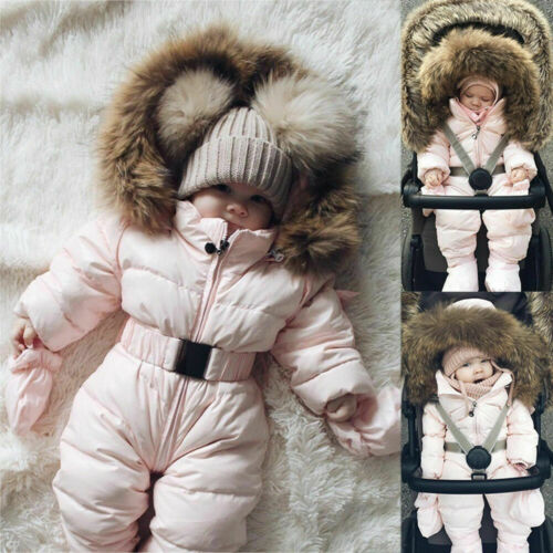 Toddler Baby Boys Girls Romper Hooded Jumpsuit Winter Warm Coat Outfits Playsuit