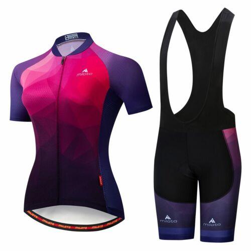 Miloto Women/'s Cycling Clothing Reflective Cycle Jersey /& Bib Shorts Padded Set