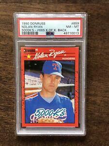 1990 Donruss #665 Nolan Ryan 5000 K'S - King of Kings Back PSA 8 NM-MT  Error
