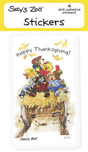 "Suzy's Zoo Stickers 4-pack, ""Happy Thanksgiving!"" 10141"