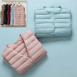 Women's Ultralight 90% Down Jacket Puffer Vest Coat Collarless V-Neck Waistcoat