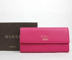 e83108ca7acb5 Das Bild wird geladen Neu-Gucci-Damen-Fuchsien-Leder-Portmonee -mit-Warenzeichen-