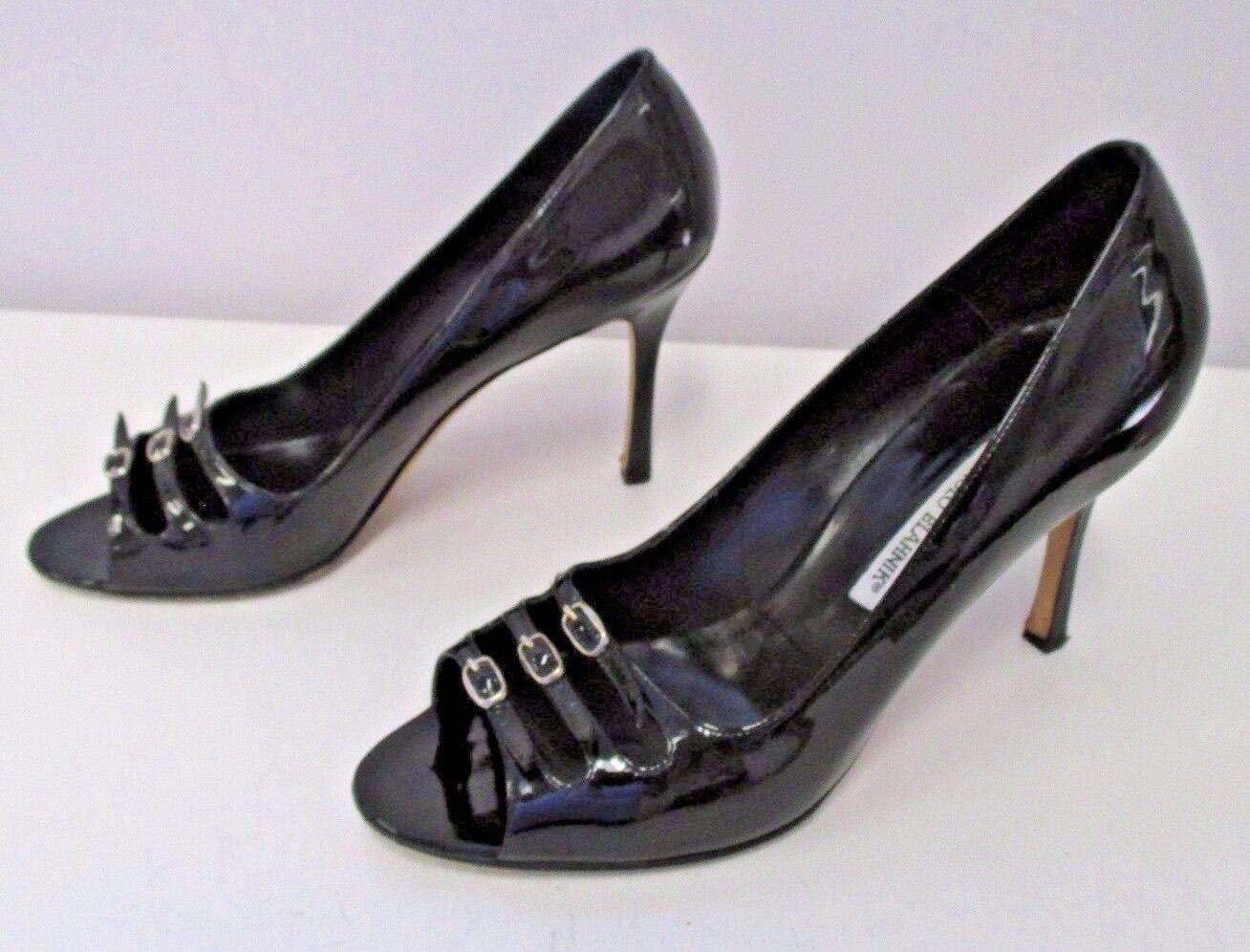 MANOLO BLAHNIK Black Patent Leather Open Toe Heels w  Three Rows of Buckles - 41