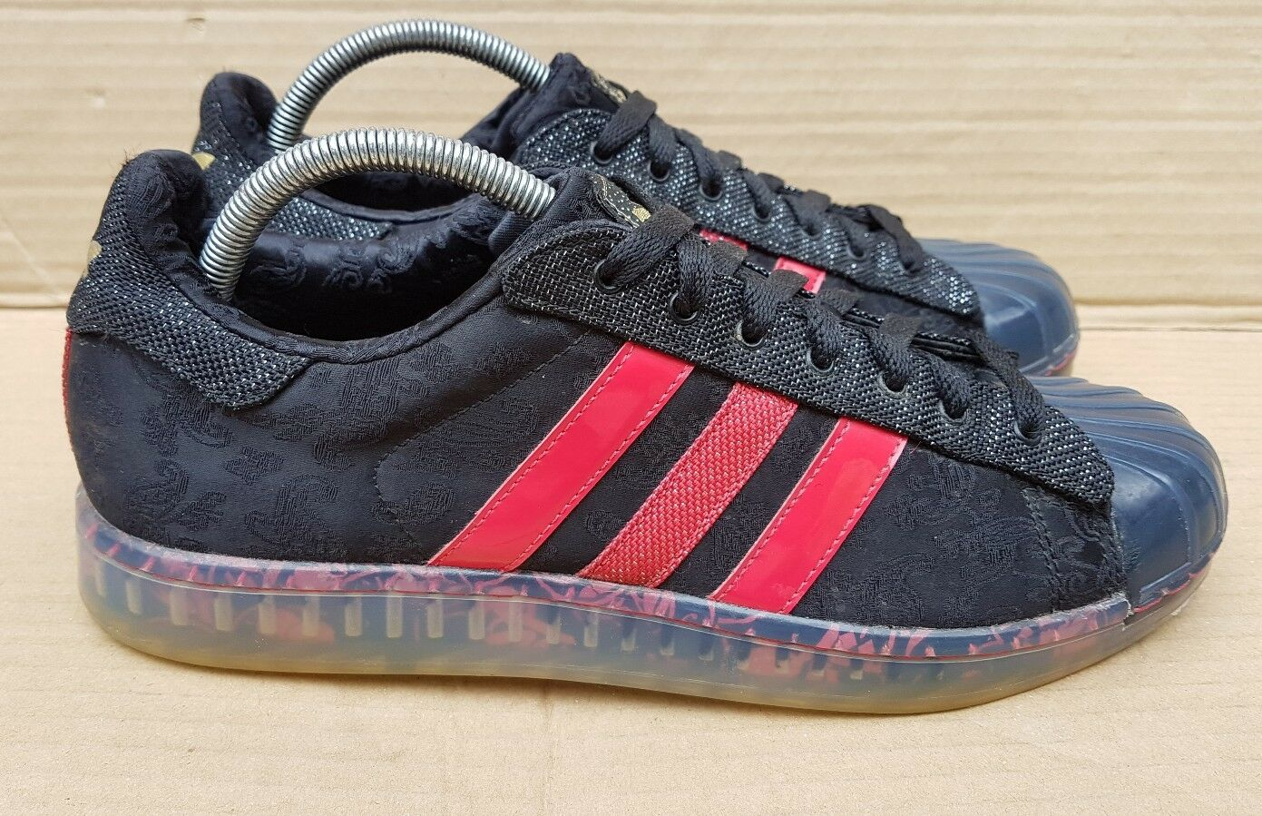 ADIDAS SUPERSTAR CLR 7 SINS OF SOLE TRAINERS BLACK AND ROT SIZE 7 UK RARE