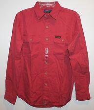 Polo Ralph Lauren Mens Dark Rose Red Cotton Twill Button-Front Work Shirt NWT L