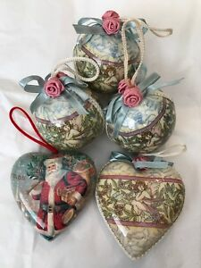 Paper Mache Christmas Ornament.Details About Lot Of 5 Paper Mache Christmas Ornaments Cherub Angels Santa