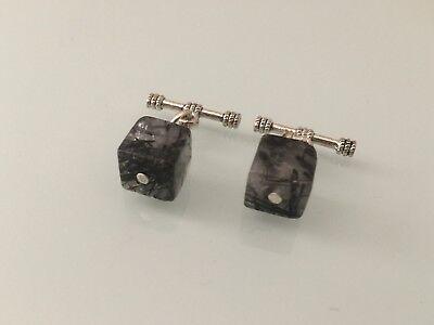 Genuine Black Hematite Gemstone Silver Plated Cufflinks in Black Gift Pouch