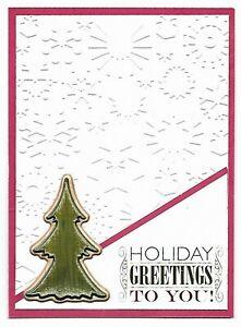 CHRISTMAS Greeting Card - Holiday Greetings Snow Tree - Handmade with Envelope