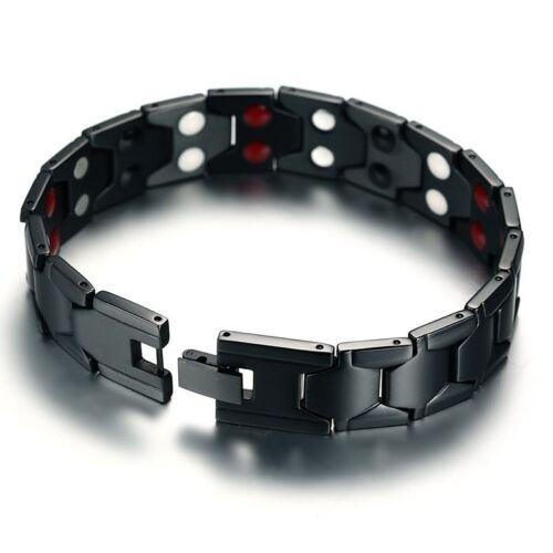 Hommes Thérapie Magnétique Bracelet pouvoir Noir En Acier Inoxydable Soins De Santé Bijoux