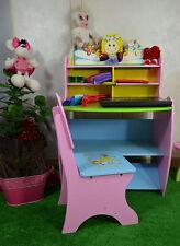 Kinder Schreibtisch mit Aufsatz Stuhl Set Mädchen Massivholz Rosa Prinzessin