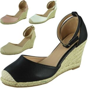 8696f74f11d2 Image is loading Womens-Ladies-Ankle-Strap-Espadrilles-Platform-Shoes-Mid-