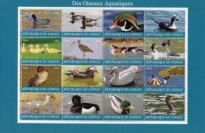 Congo-2017-CTO-Water-Birds-16v-M-S-Ducks-Flamingos-Grebes-Waders-Stamps
