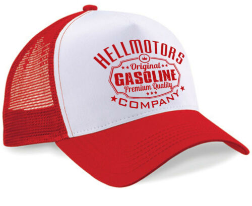 Hellmotors Gasoline Unisexe Trucker Cap Old School Capuchon Hotrod v8 Basecap Rouge