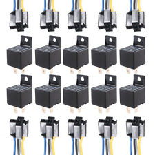 10 X Car Truck Auto 12V 40A 40 AMP SPST Relay Relays 4 Pin 4P & Socket 4 Wire