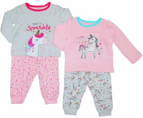 Bébé Filles Pyjamas Lot de 2 Licorne thème EX UK boutique 0-36 M Toddler Night Wear NEUF