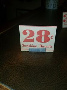 28c Vintage 1930s Sunshine Biscuits Country Store Sign Stand 1 75 X 2 25 Ebay