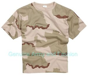 Army T Shirt US Combat Military Tactical Style Short Sleeve Top Tri Desert Storm