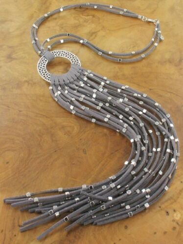 """Two Rows Grey Suede Strands Silver beads Long Tassels Lagenlook Necklace 17.5/"""""""