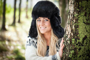 Black Genuine Rabbit fur Russian ushanka winter hat Trapper Bomber w ... 952e0e94bf21