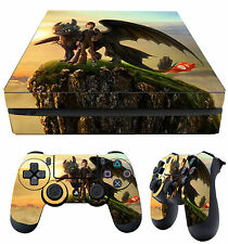 PS4 Slim Skin How To Train Your Dragon Hiccup Toothless + Pad Decals Vinyl Laid