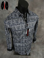 Mens Platini Premium Shirt Black Grey Paisley With Solid Color Accents Slim Fit