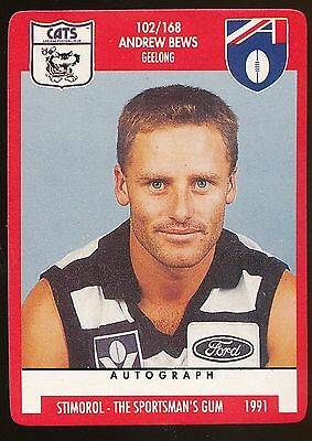 1991 Scanlens Stimorol Geelong No 102 Andrew Bews Cats Near Mint Invigorating Blood Circulation And Stopping Pains Sports Trading Cards
