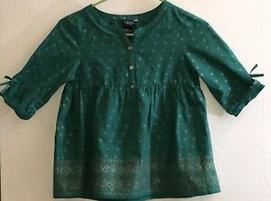 Chaps-Girl-s-Sz-8-10-Top-Long-Sleeve-Green-w-Gold-Diamonds-Front-Buttons-Cotton