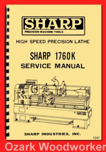 SHARP 1760K Metal Lathe Instructions /& Part Owner/'s Manual 1247